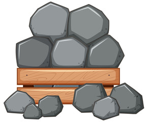 Pile of rock in wooden box