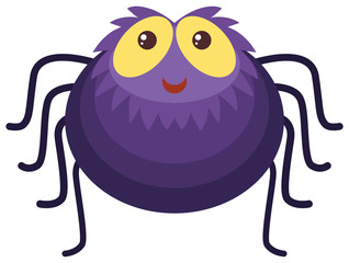 Purple spider with happy face