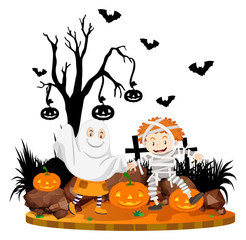 Halloween scene with kids in costume