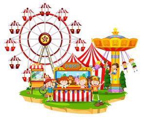 Happy children at circus