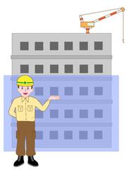 ビルの新築工事の作業員の説明