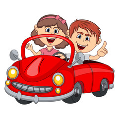 Car and a couple young passengers cartoon