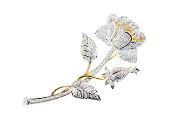 flower broochs on white background