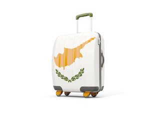 Luggage with flag of cyprus. Suitcase isolated on white