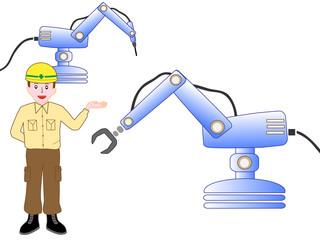産業用ロボットを説明する作業員