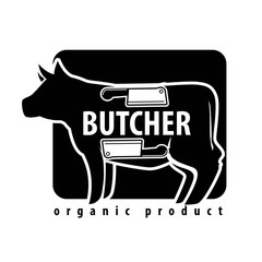Fresh meat icon for butcher shop of vector cow or pork and cutlery knife