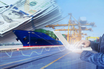 People is using technology to control market of logistics import & export shipping concept to make money.