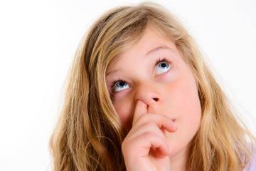 funny girl picking in nose
