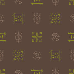 Seamless pattern with Icelandic magical symbols for your design