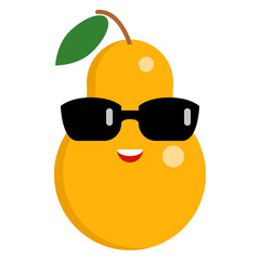 Pear smiling face emoji with sunglasses vector illustration. Flat style design. Colorful graphics