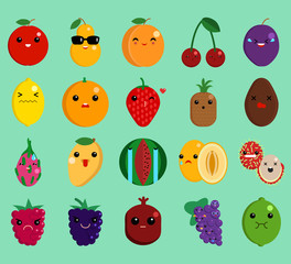 Cartoon face funny fruit emoji elements collection, flat icons set, Colorful symbols pack contains - apple pear peach cherry lemon orange strawberry pineapple . Vector illustration. Flat style design