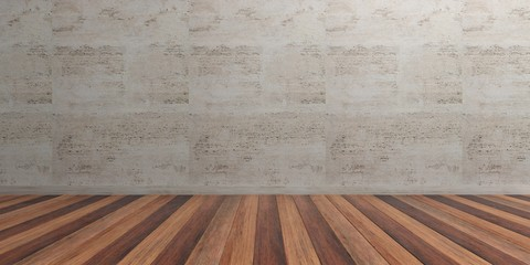 Empty room, wooden floor and marble wall. 3d illustration