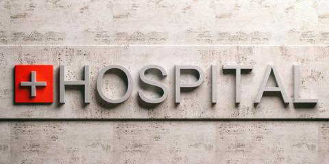 Hospital sign on marble background. 3d illustration