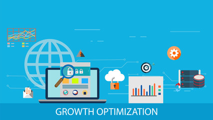 Growth optimization, data-driven marketing, conversion management flat design vector with icons and elements