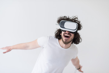 Man using headset of virtual reality