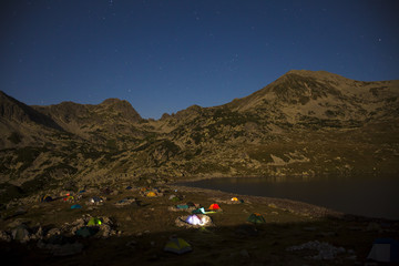 night camping area in Retezat National Park, Romanian Carpathians