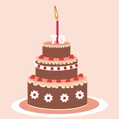 Birthday cake with candle. Chocolate cake with fruit. Birthday wish. Postcard. Vector icon.Seventy years.