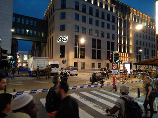 Belgian policemen and soldiers are seen at the scene where a man attacked two soldiers with a knife in Brussels, Belgium August 25, 2017 in this picture obtained from social media