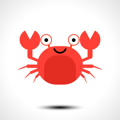 Crab icon. Cute cartoon baby character isolated on white background. Vector illustration