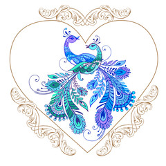 Decorative heart with purple birds. Vector illustrations