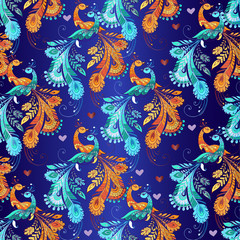 Multicolored floral seamless pattern with fantastic birds and hearts on a blue background. Decorative ornament backdrop for fabric, textile, wrapping paper