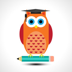 Wise owl with pencil isolated on white background. Vector illustration
