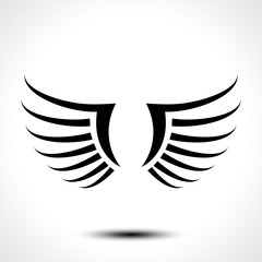 Wings icon isolated on white background. Vector illustration