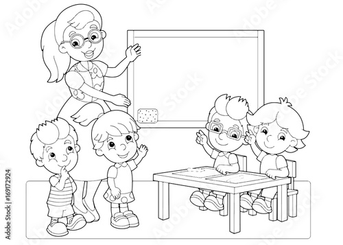 Cartoon Scene With Children And Teacher In The Classroom Holding