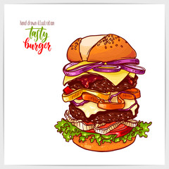 Pretty vector illustration of hand drawn colorful big tasty burger.