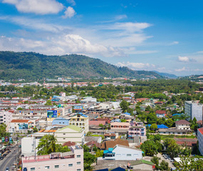 Top view of building and house of Phuket province in town area