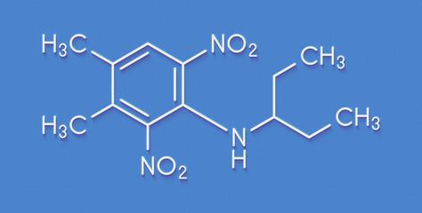 Pendimethalin herbicide molecule. Skeletal formula.