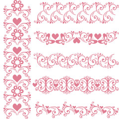 Ornamental seamless pink borders. Vector set with floral elements and hearts
