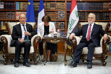 French Foreign Minister Jean-Yves Le Drian meets with Iraqi Foreign Minister Ibrahim al-Jaafari in Baghdad