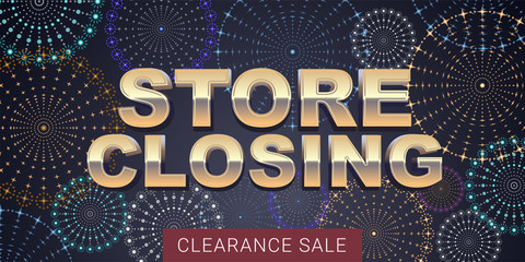 Store closing vector illustration, background with fireworks