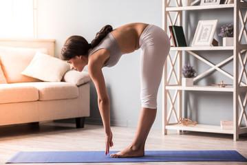 Afro American girl doing yoga