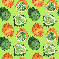 Exotic kiwano healthy food pattern in a watercolor style. Full name of the fruit: kiwano. Aquarelle wild fruit for background, texture, wrapper pattern or menu.