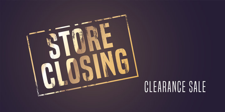 Store closing vector illustration, background with post stamp