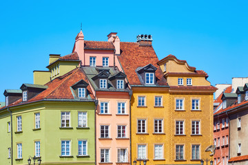 Beautiful colored old European houses in the center of the old town in Warsaw, Poland