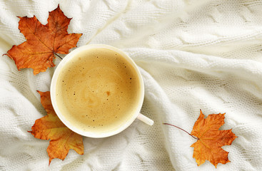 Cup of coffee and autumn leaves on knitted plaid