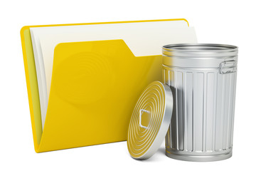 Computer folder icon with rubbish bin, 3D rendering