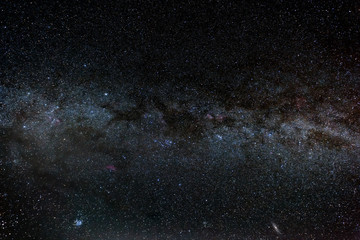 Milky way galaxy and thousands stars on dark sky background