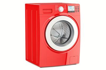 modern red washing machine, 3D rendering