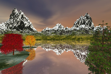 Snowy mountain, an alpine landscape. Beautiful trees, the absolute reflection on the lake and a fantastic sky.
