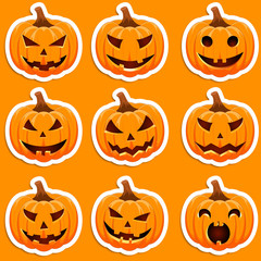 Set pumpkin sticker on an orange background. The main symbol of the Happy Halloween holiday. Orange pumpkin with smile for your design for the holiday Halloween. Vector illustration.