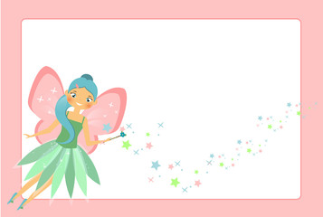 Beautiful flying fairy character with pink wings. Elf princess with magic wand. Pink frame design template for photos, children diplomas, kids certificate, invitations and etc