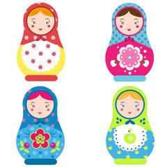 Matryoshka set. Traditional russian nesting dolls. Smiling Matreshka icon. Vector illustration