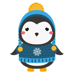 Cute penguin. Cartoon kawaii animal character. Vector illustration for kids and babies fashion