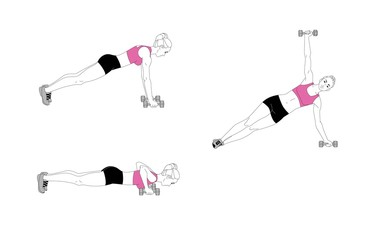 The girl is doing sports exercises with dumbbells. Sequence of movements.