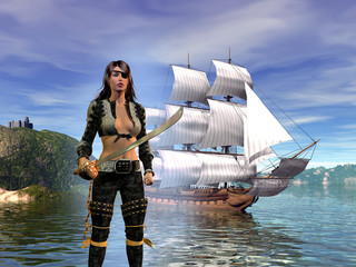 pirate woman with her sword in front of the galleon in the bay, 3d illustration