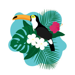 Exotic Toucan Bird, Colorful Hibiscus Flowers Blossom and Tropical Leaves, Isolated on White Background. Vector illustration.
